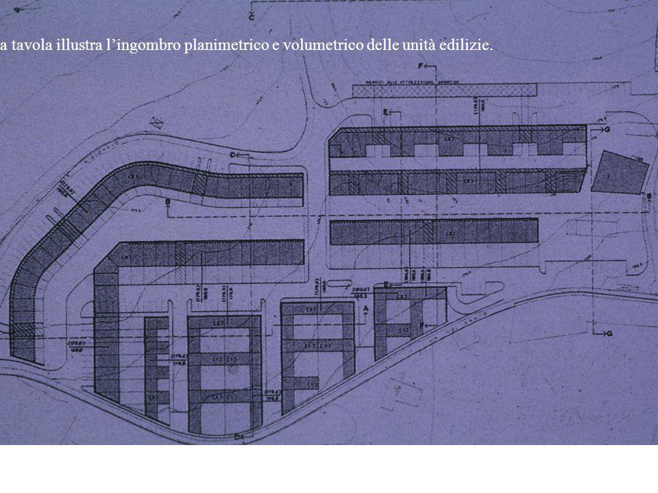 La tavola illustra l'ingombro planimetrico e volumetrico delle unità edilizie.