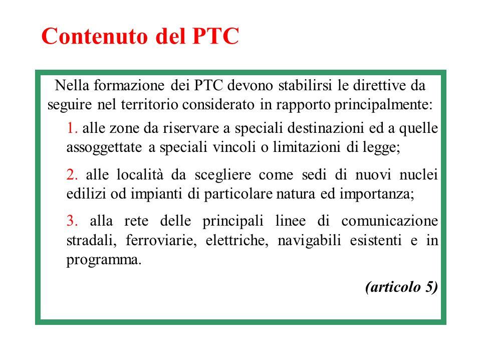 Contenuto del PTC Nella formazione dei PTC devono stabilirsi le direttive da seguire nel territorio considerato in rapporto principalmente: