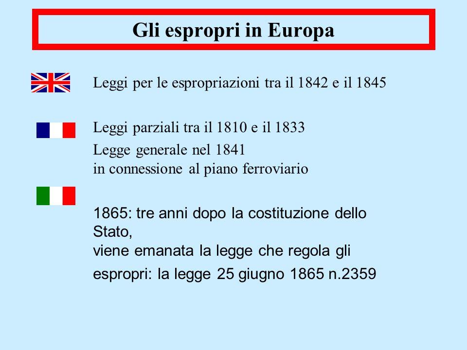 Gli espropri in EuropaLeggi per le espropriazioni tra il 1842 e il 1845. Leggi parziali tra il 1810 e il 1833.