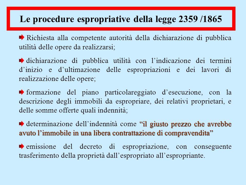 Le procedure espropriative della legge 2359 /1865