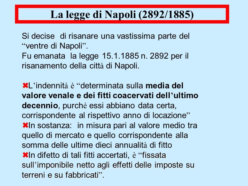 La legge di Napoli (2892/1885)Si decise di risanare una vastissima parte del ventre di Napoli .