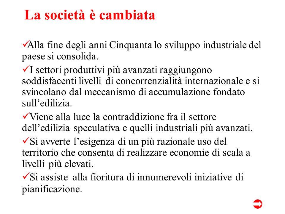La società è cambiata Alla fine degli anni Cinquanta lo sviluppo industriale del paese si consolida.