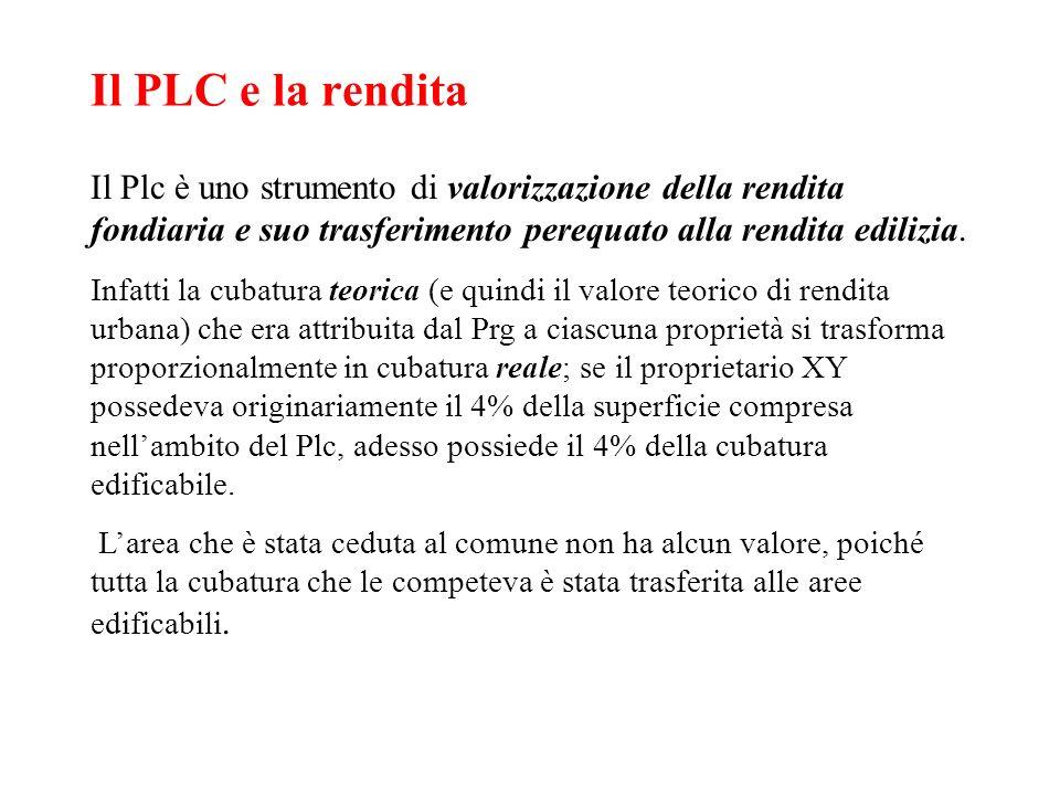 Il PLC e la renditaIl Plc è uno strumento di valorizzazione della rendita fondiaria e suo trasferimento perequato alla rendita edilizia.