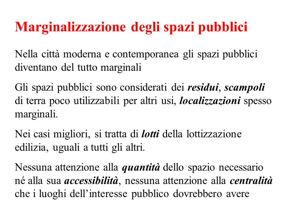 Marginalizzazione degli spazi pubblici