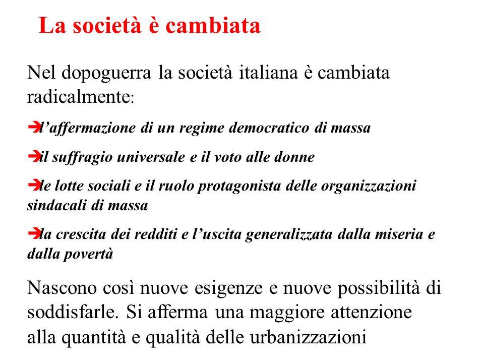 La società è cambiata Nel dopoguerra la società italiana è cambiata radicalmente: l'affermazione di un regime democratico di massa.