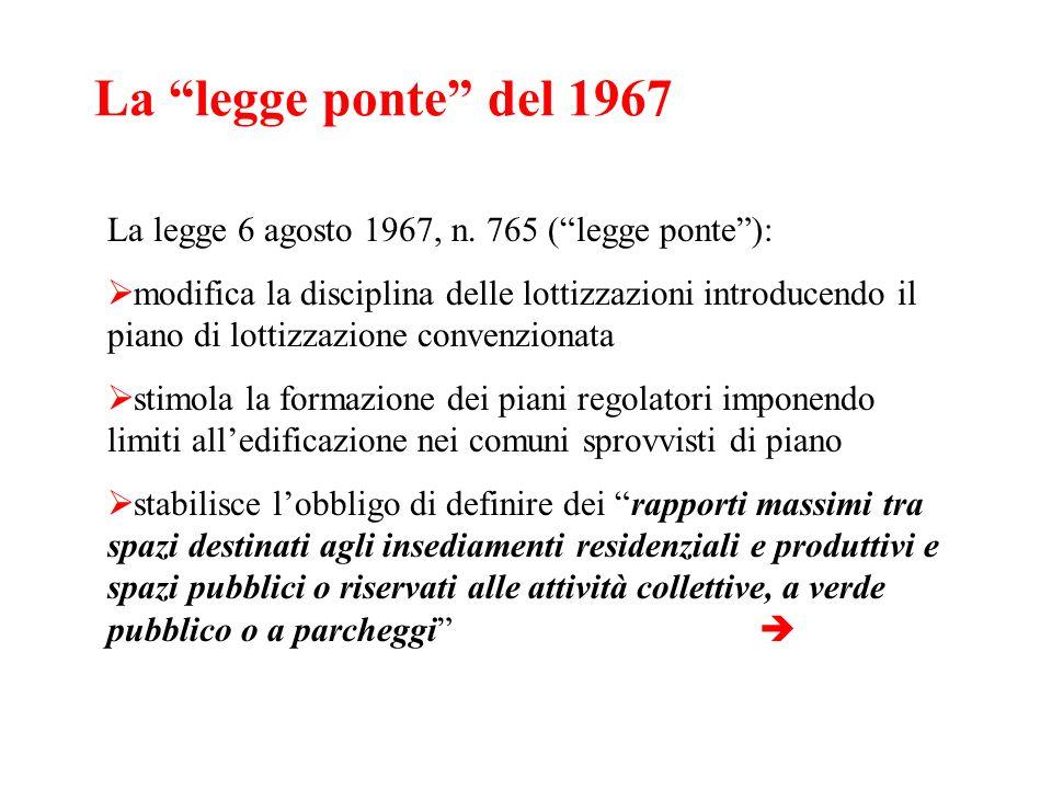 La legge ponte del 1967 La legge 6 agosto 1967, n. 765 ( legge ponte ):