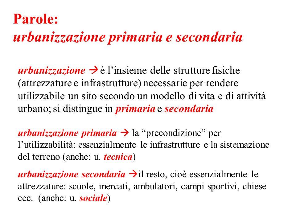 Parole: urbanizzazione primaria e secondaria
