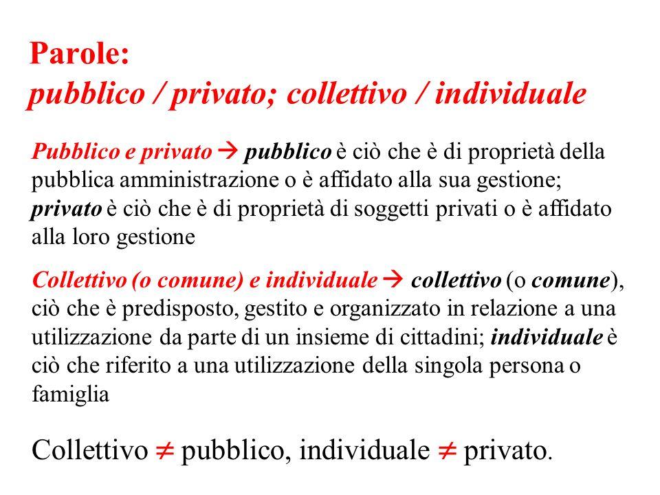Parole: pubblico / privato; collettivo / individuale