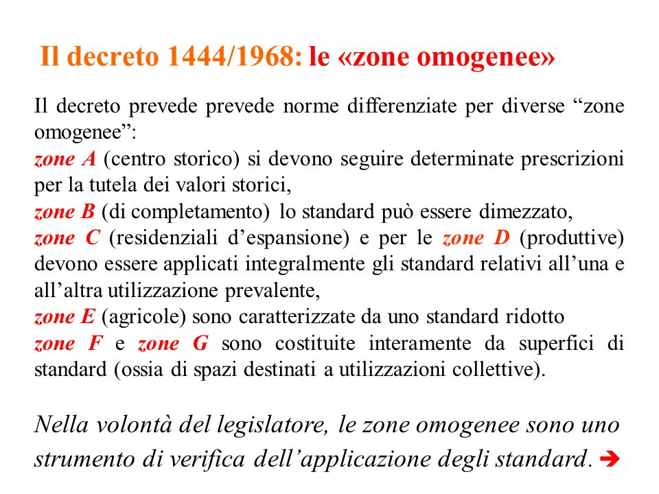 Il decreto 1444/1968: le «zone omogenee»