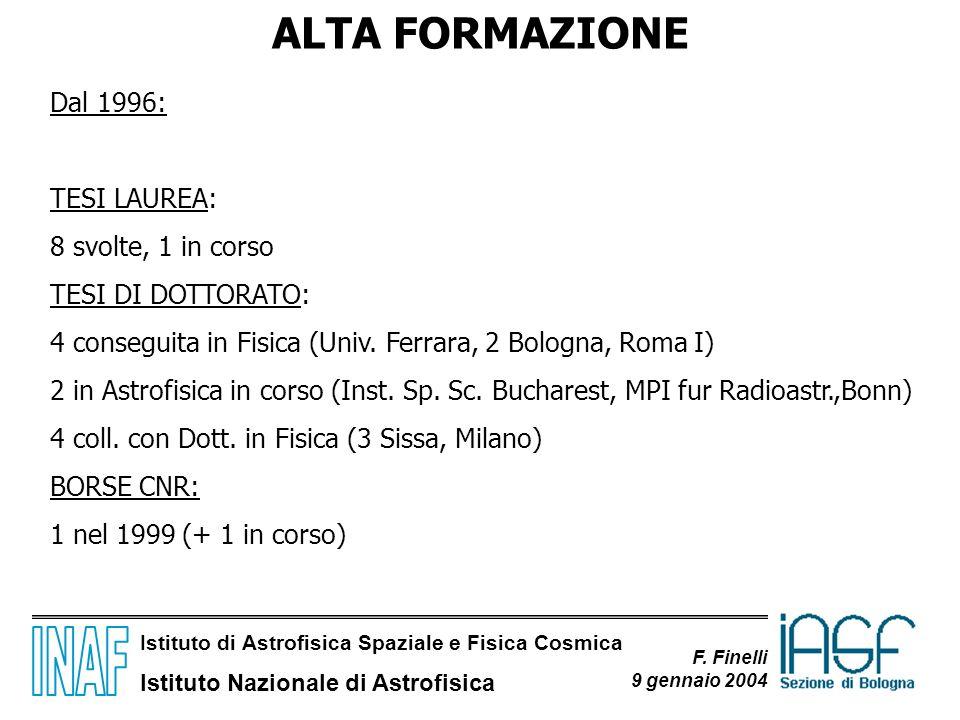 ALTA FORMAZIONE Dal 1996: TESI LAUREA: 8 svolte, 1 in corso