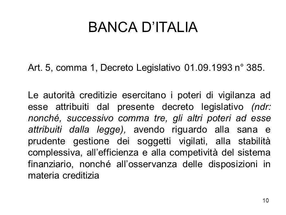 BANCA D'ITALIA Art. 5, comma 1, Decreto Legislativo 01.09.1993 n° 385.