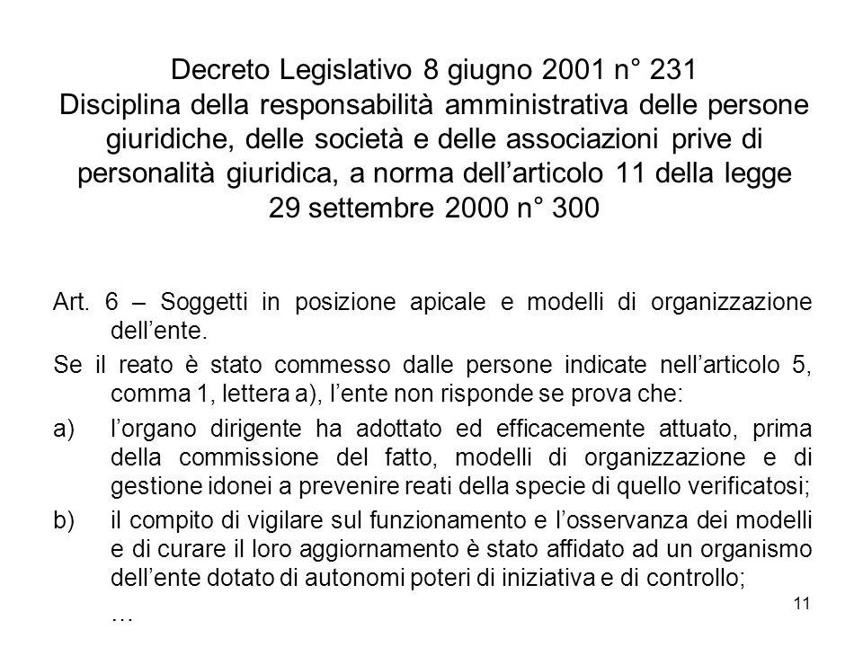 Decreto Legislativo 8 giugno 2001 n° 231 Disciplina della responsabilità amministrativa delle persone giuridiche, delle società e delle associazioni prive di personalità giuridica, a norma dell'articolo 11 della legge 29 settembre 2000 n° 300