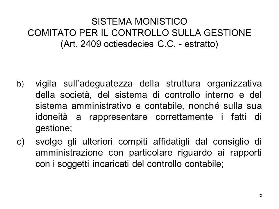 SISTEMA MONISTICO COMITATO PER IL CONTROLLO SULLA GESTIONE (Art