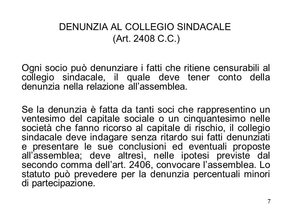 DENUNZIA AL COLLEGIO SINDACALE (Art. 2408 C.C.)