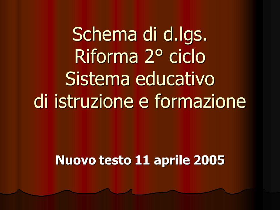 Schema di d.lgs. Riforma 2° ciclo Sistema educativo di istruzione e formazione