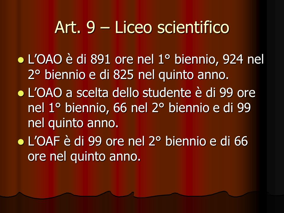 Art. 9 – Liceo scientifico