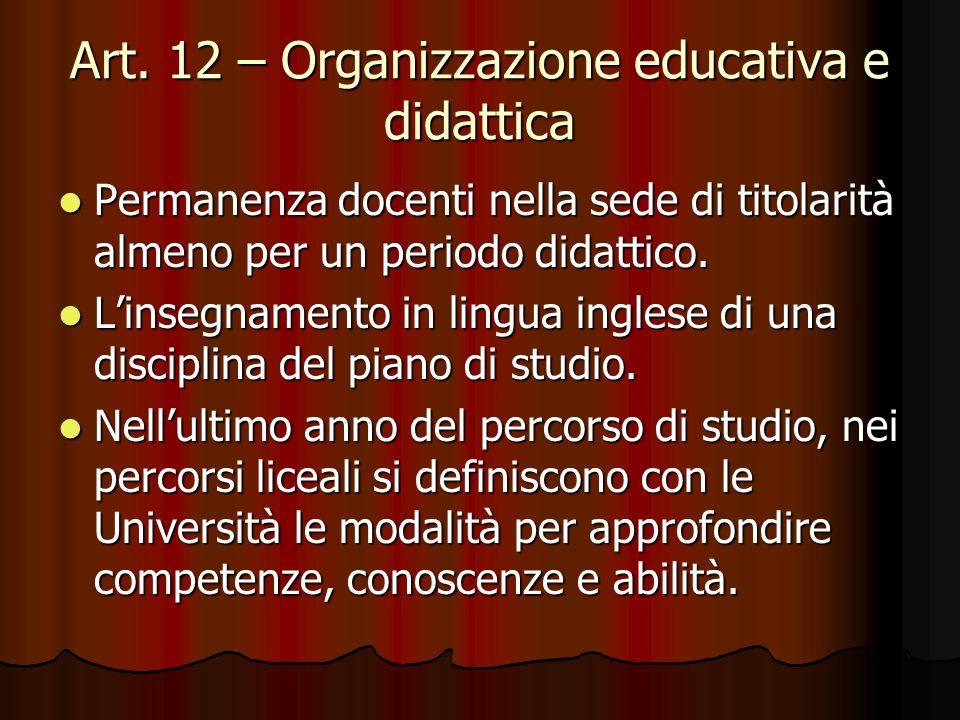 Art. 12 – Organizzazione educativa e didattica