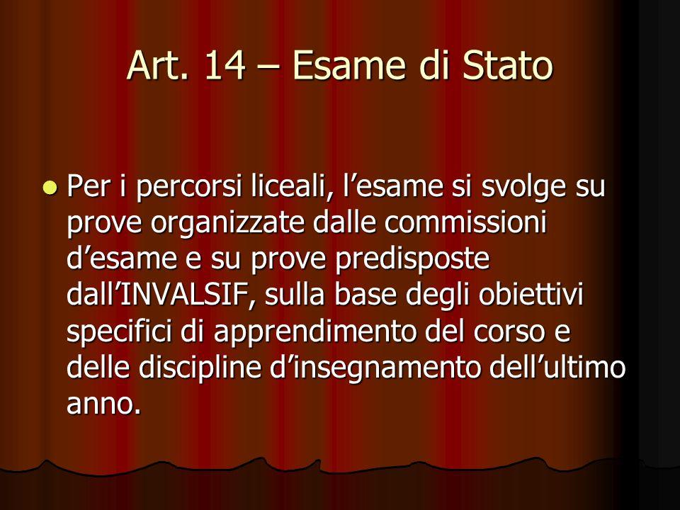 Art. 14 – Esame di Stato