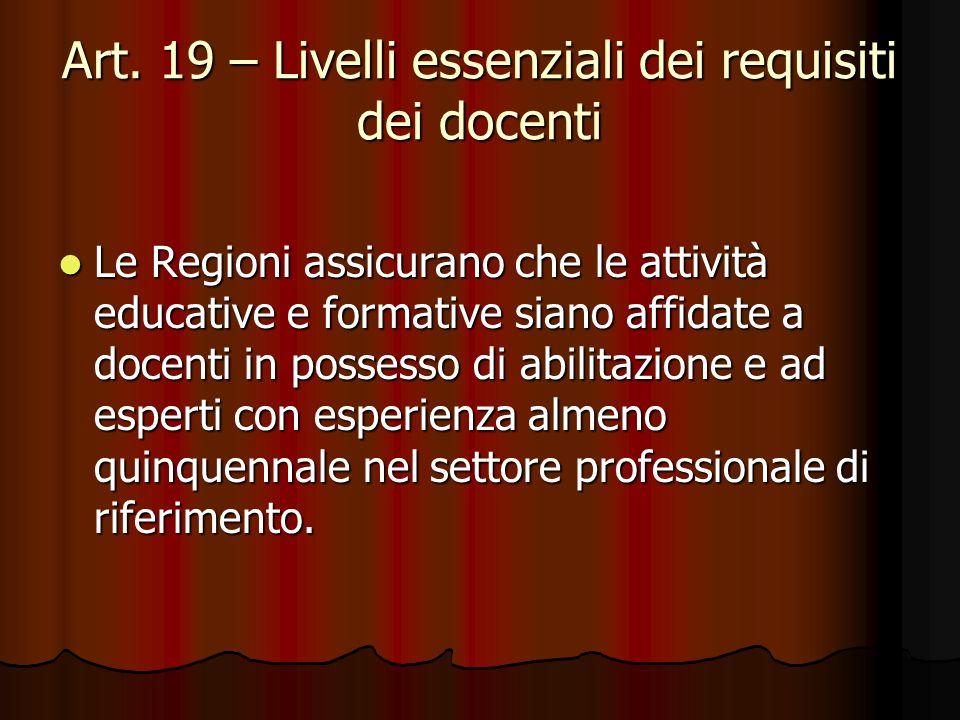 Art. 19 – Livelli essenziali dei requisiti dei docenti