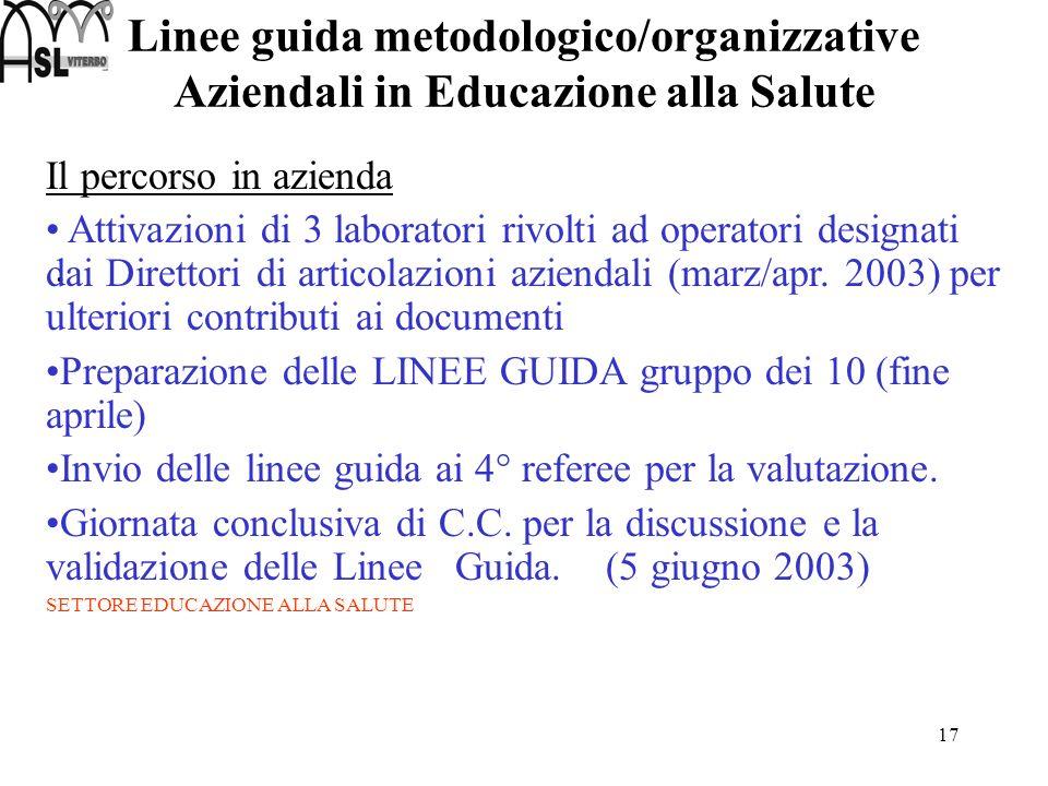 Linee guida metodologico/organizzative Aziendali in Educazione alla Salute