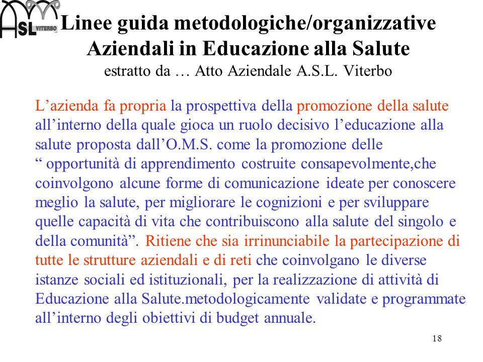 Linee guida metodologiche/organizzative Aziendali in Educazione alla Salute estratto da … Atto Aziendale A.S.L. Viterbo