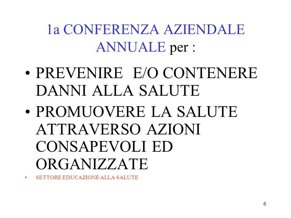 1a CONFERENZA AZIENDALE ANNUALE per :