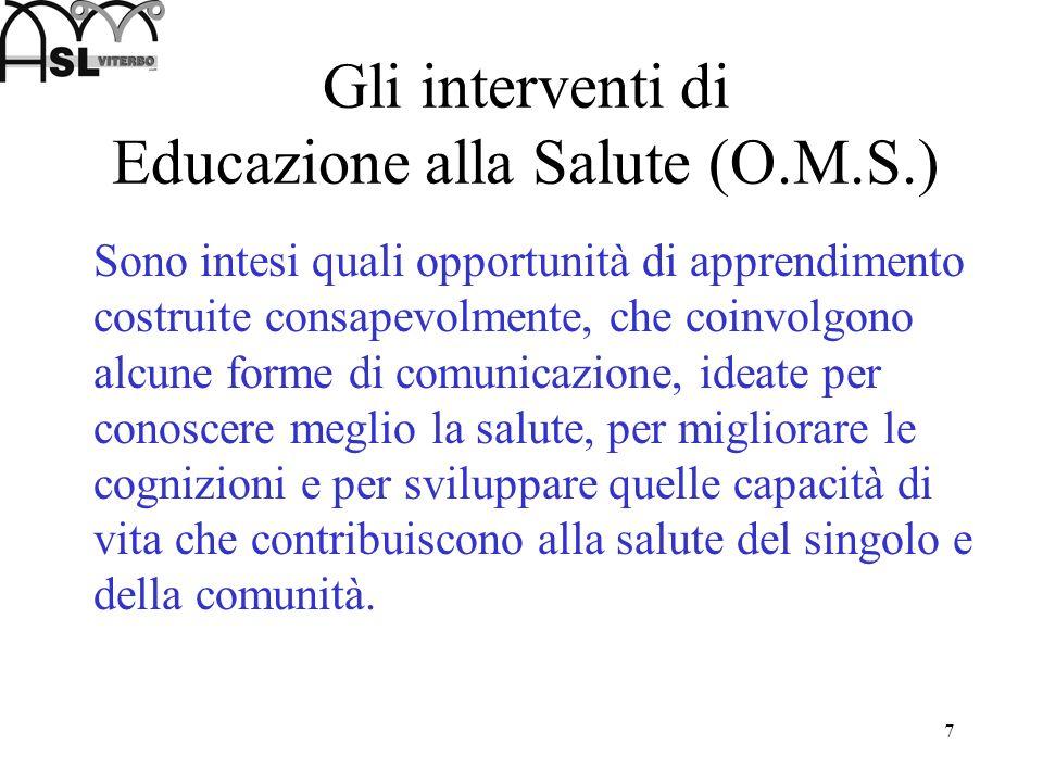 Gli interventi di Educazione alla Salute (O.M.S.)