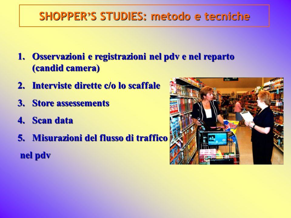 SHOPPER'S STUDIES: metodo e tecniche