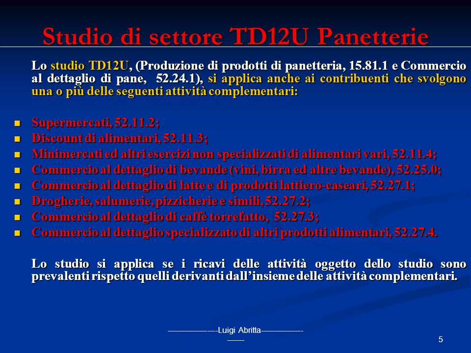 Studio di settore TD12U Panetterie
