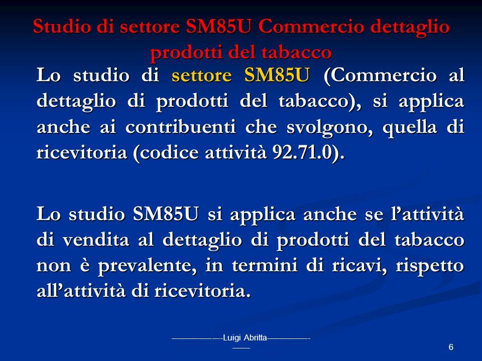 Studio di settore SM85U Commercio dettaglio prodotti del tabacco
