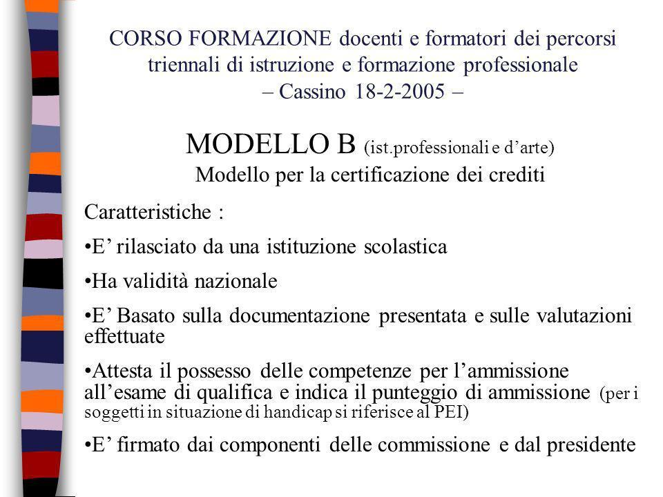 MODELLO B (ist.professionali e d'arte)