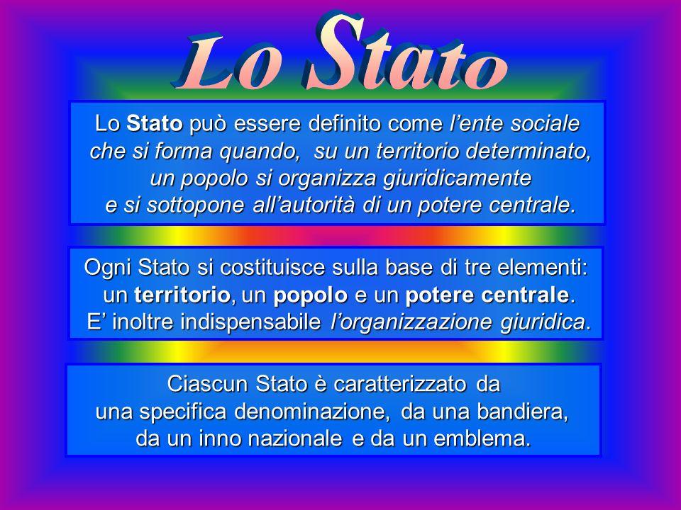 Lo Stato Lo Stato può essere definito come l'ente sociale