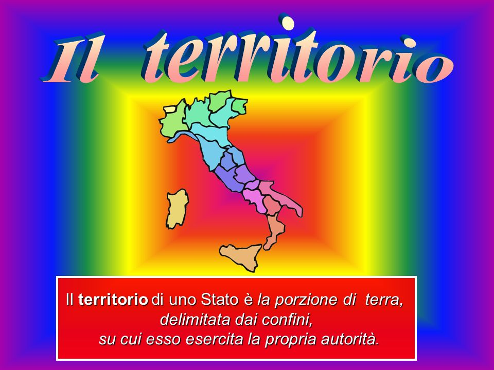 Il territorio Il territorio di uno Stato è la porzione di terra,