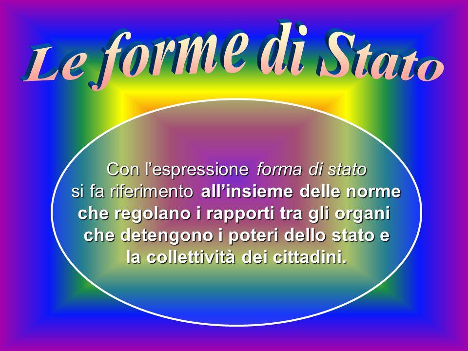 Le forme di Stato Con l'espressione forma di stato