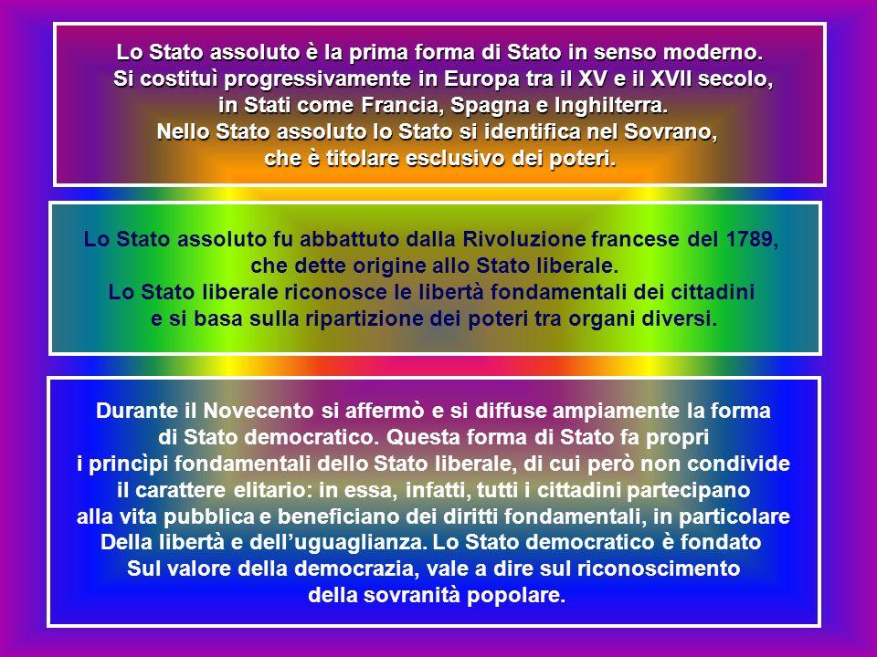 Lo Stato assoluto è la prima forma di Stato in senso moderno.