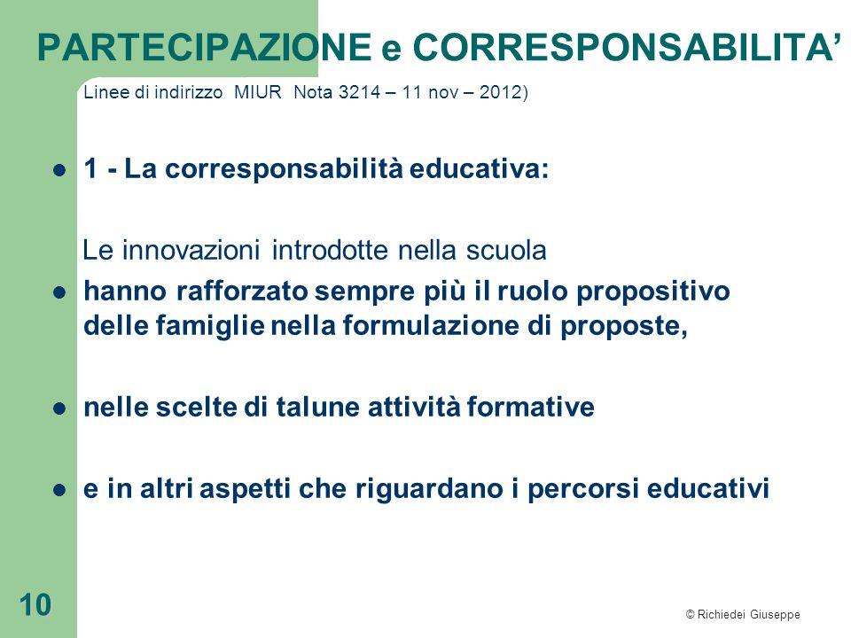 1 - La corresponsabilità educativa: