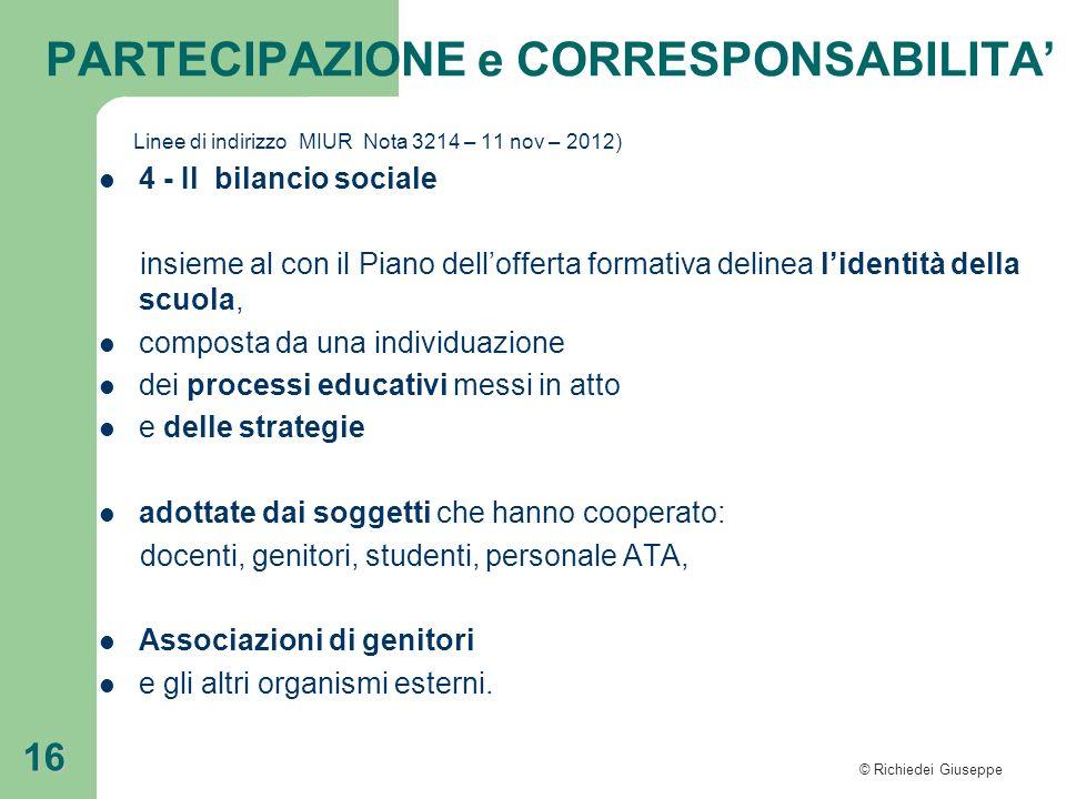 PARTECIPAZIONE e CORRESPONSABILITA'