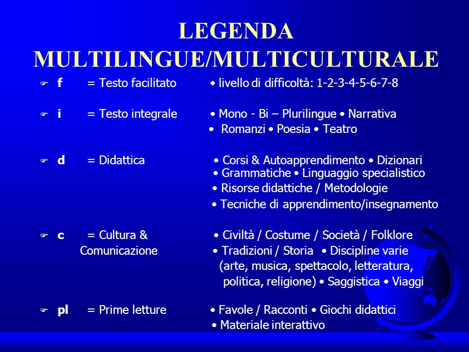 LEGENDA MULTILINGUE/MULTICULTURALE