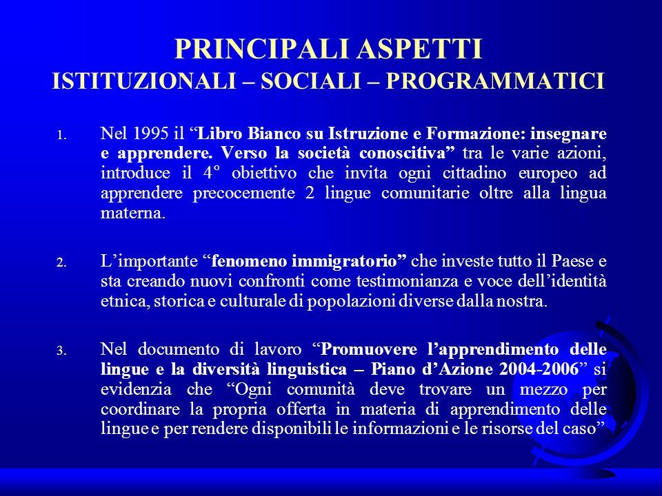 PRINCIPALI ASPETTI ISTITUZIONALI – SOCIALI – PROGRAMMATICI