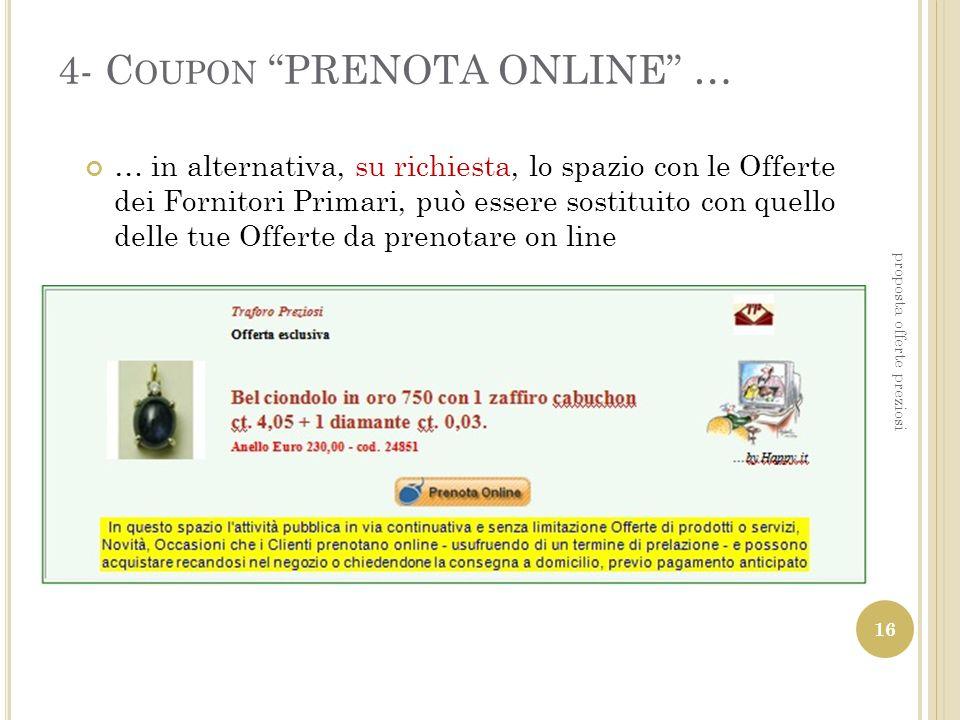 4- Coupon PRENOTA ONLINE …