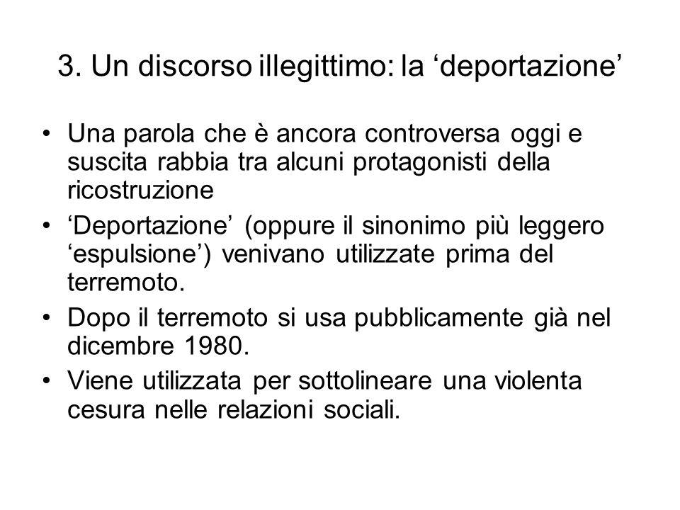 3. Un discorso illegittimo: la 'deportazione'