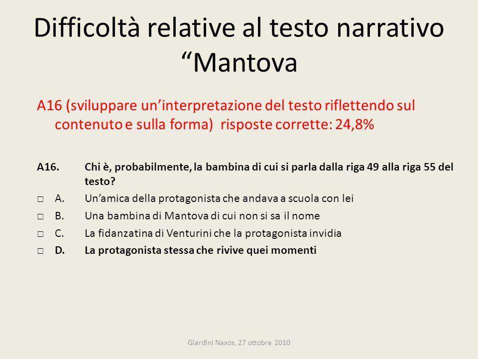 Difficoltà relative al testo narrativo Mantova