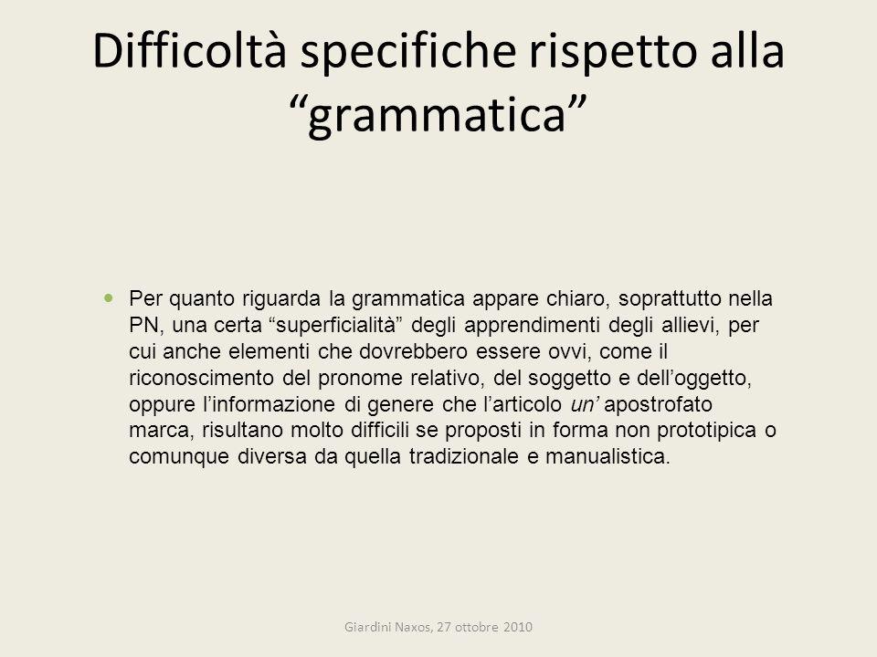 Difficoltà specifiche rispetto alla grammatica