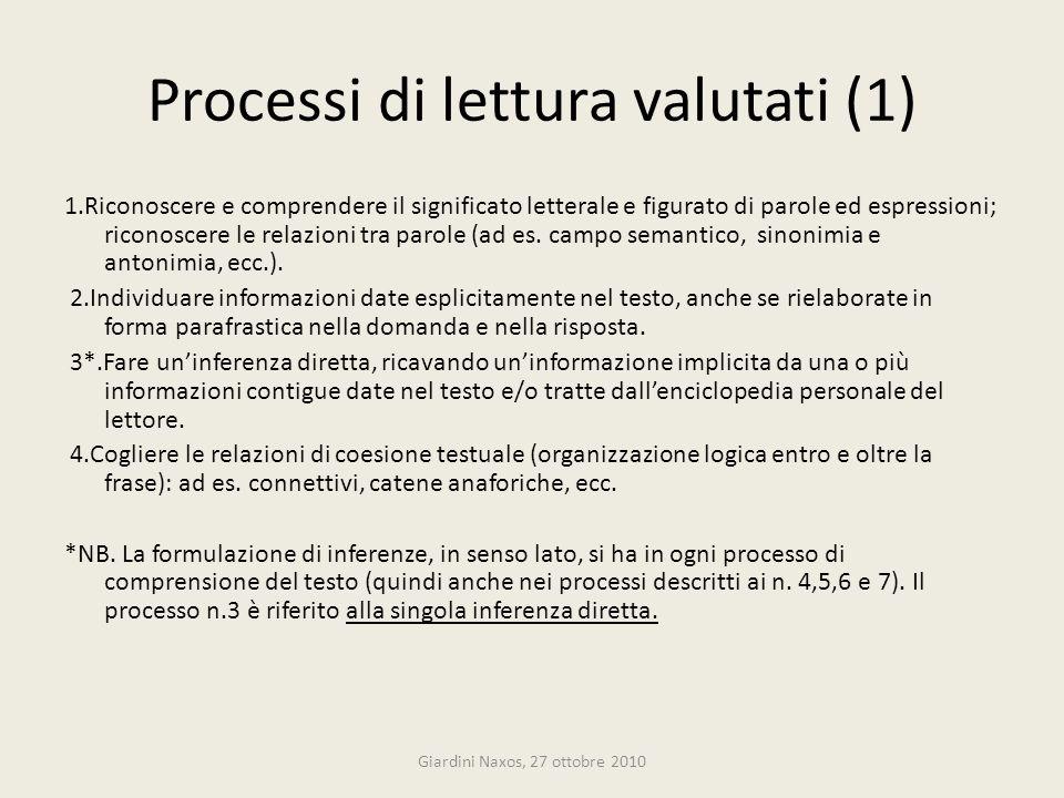 Processi di lettura valutati (1)