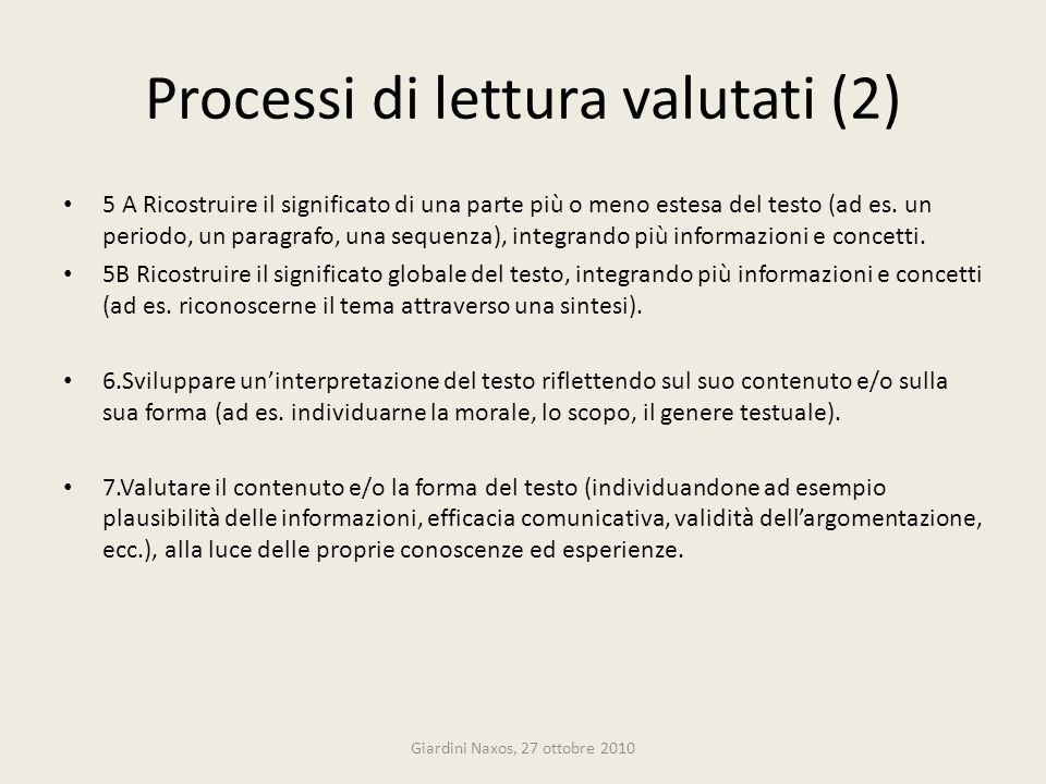 Processi di lettura valutati (2)