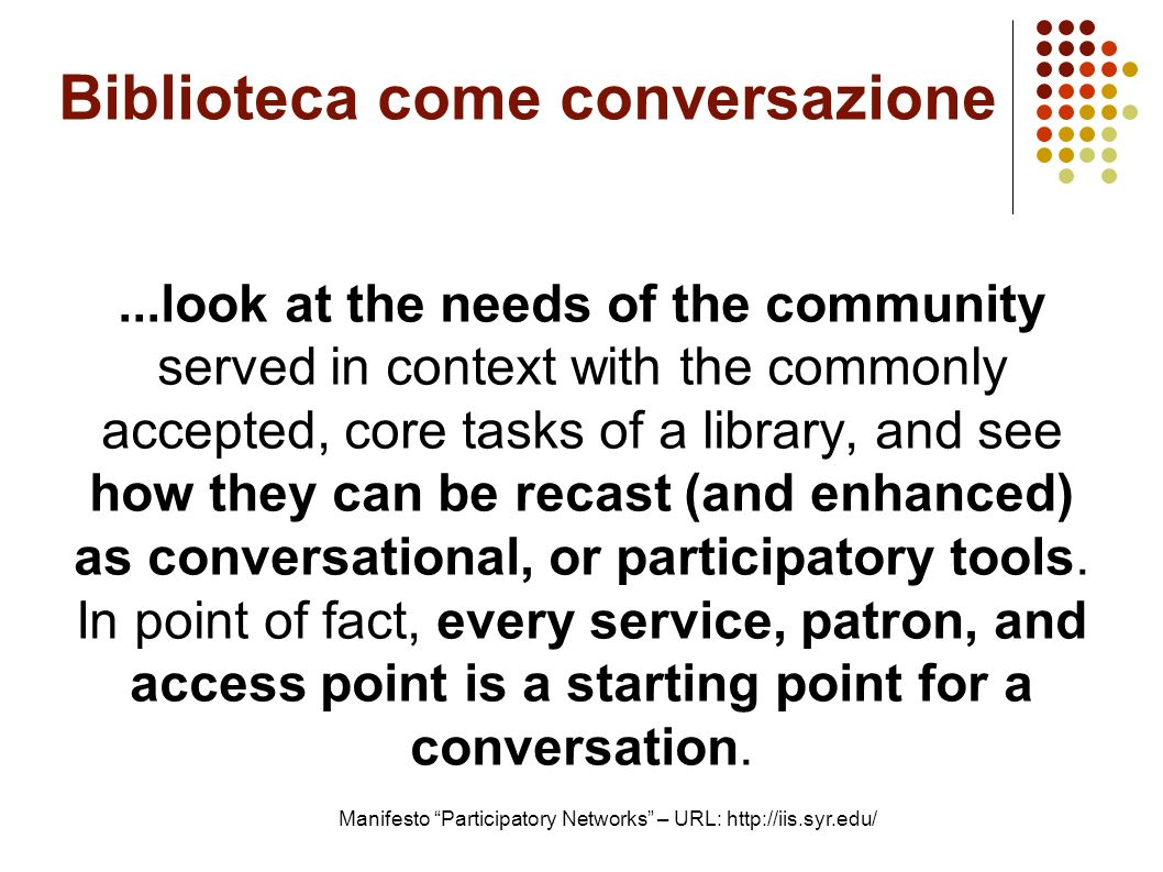 Biblioteca come conversazione