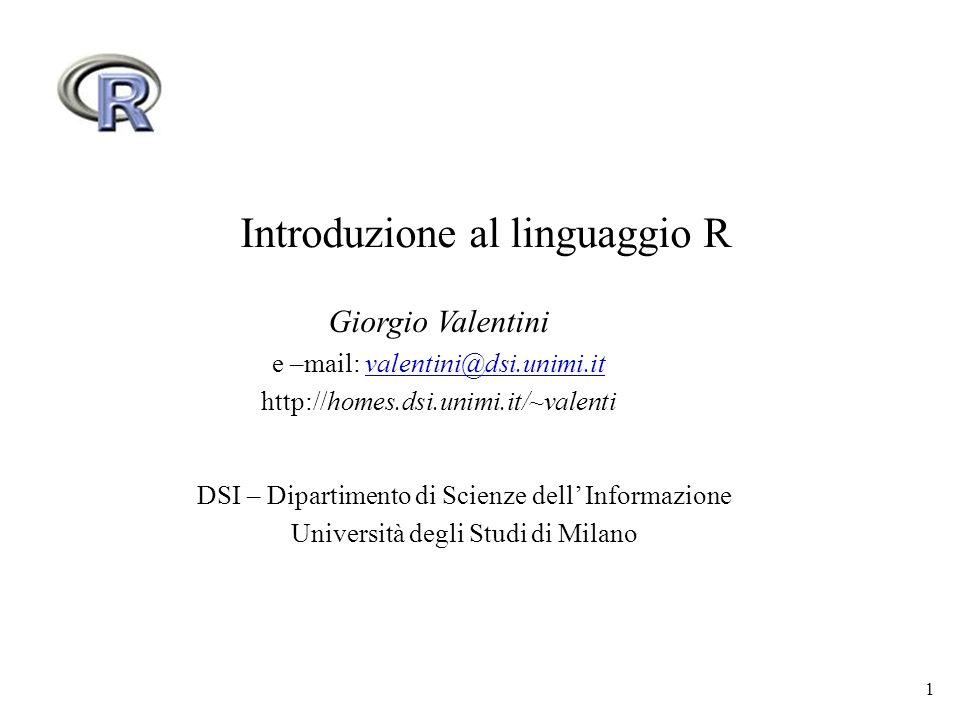 Introduzione al linguaggio R