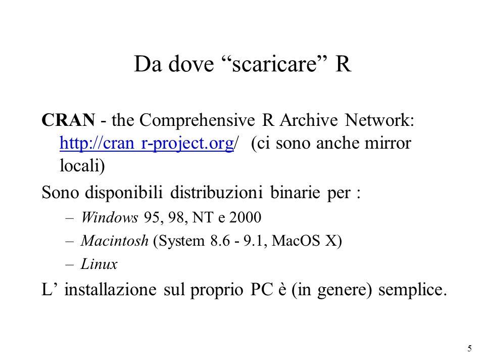 Da dove scaricare R CRAN - the Comprehensive R Archive Network: http://cran r-project.org/ (ci sono anche mirror locali)