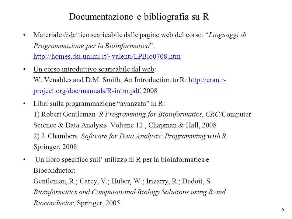 Documentazione e bibliografia su R