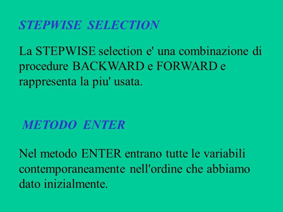 STEPWISE SELECTIONLa STEPWISE selection e una combinazione di. procedure BACKWARD e FORWARD e. rappresenta la piu usata.